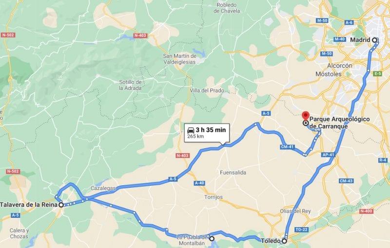 mapa ruta que ver en Talavera de la Reina  en Toledo y alrededores