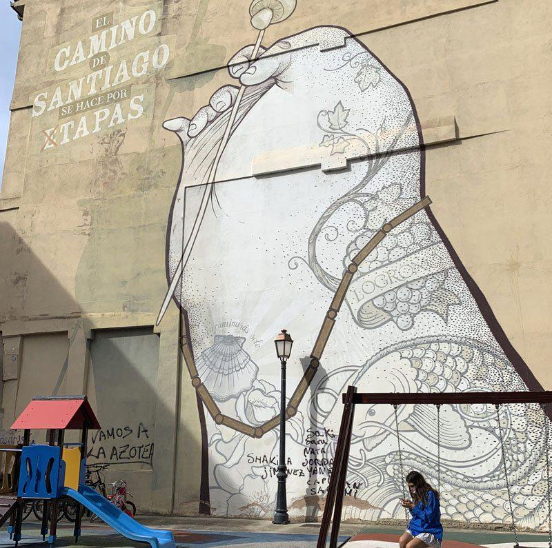 Mural en el albergue de peregrinos de Logroño
