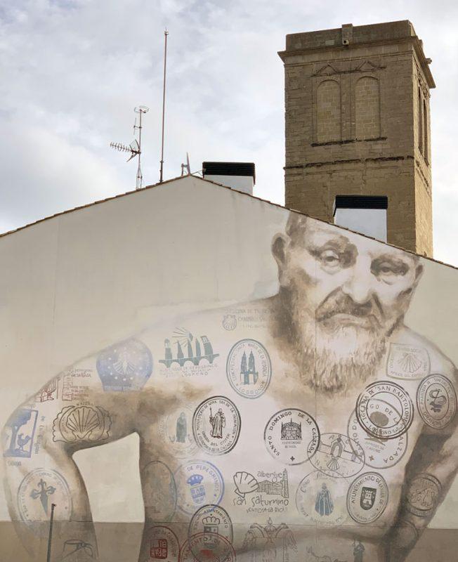 Mural sellos peregrino Camino de Santiago Logroño
